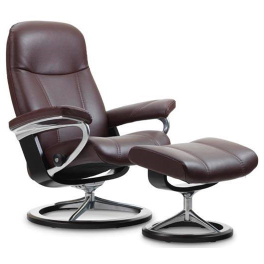 Stressless ConsulMedium Reclining Chair and Ottoman
