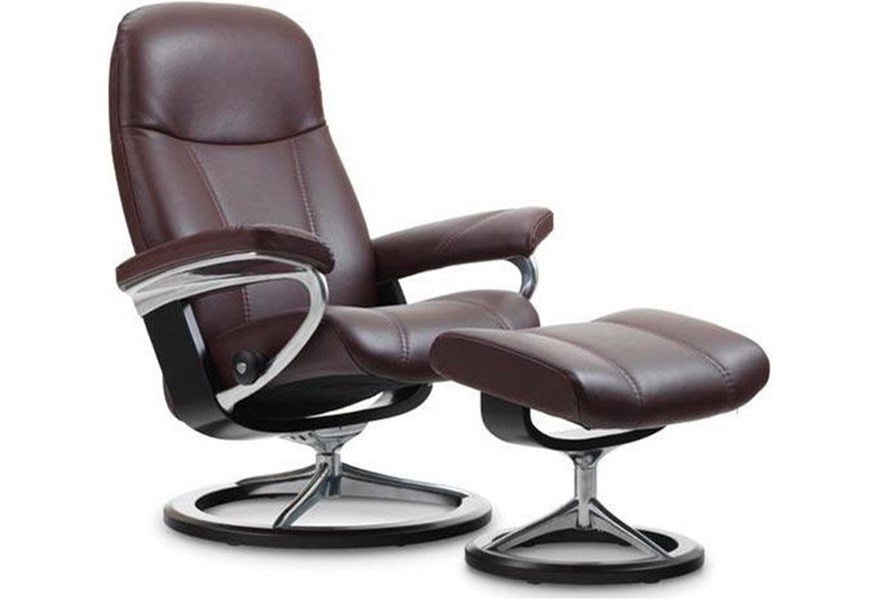 Enjoyable Stressless Consul Small Reclining Chair And Ottoman With Andrewgaddart Wooden Chair Designs For Living Room Andrewgaddartcom