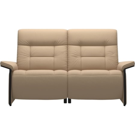 Reclining 2 Seat Loveseat with Wood Arms