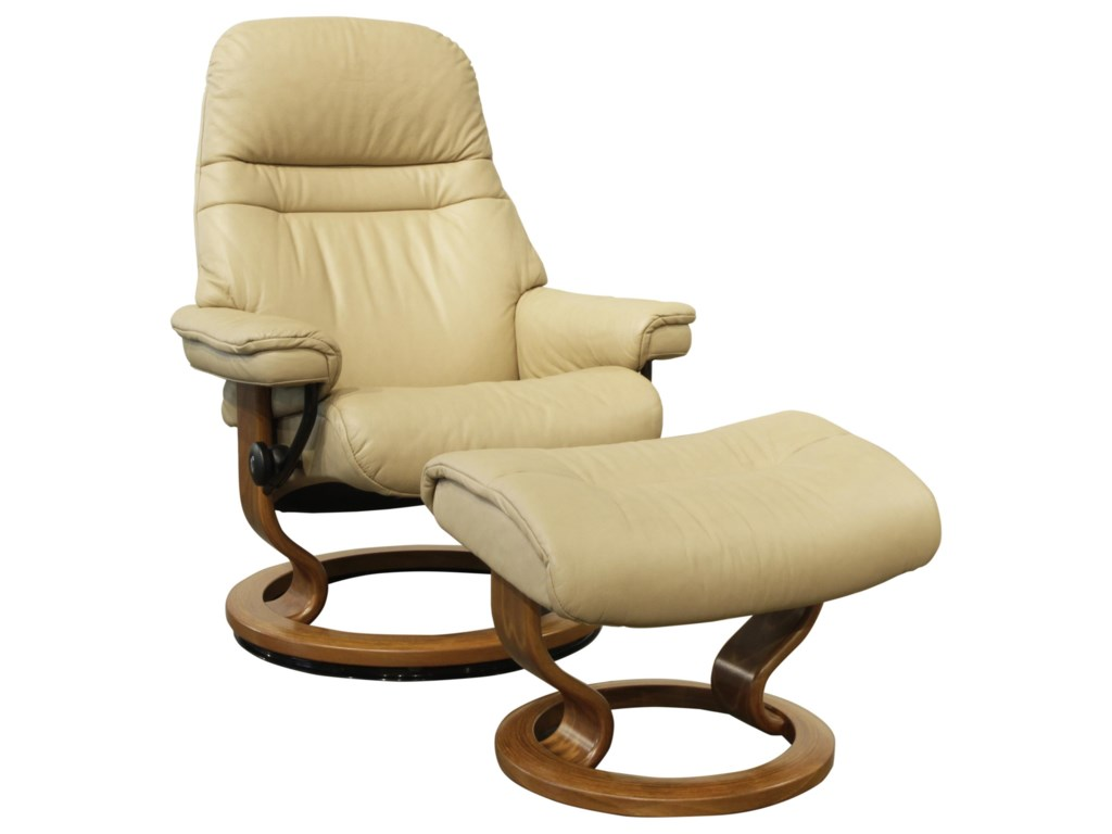 Stressless SunriseMedium Stressless Chair & Ottoman