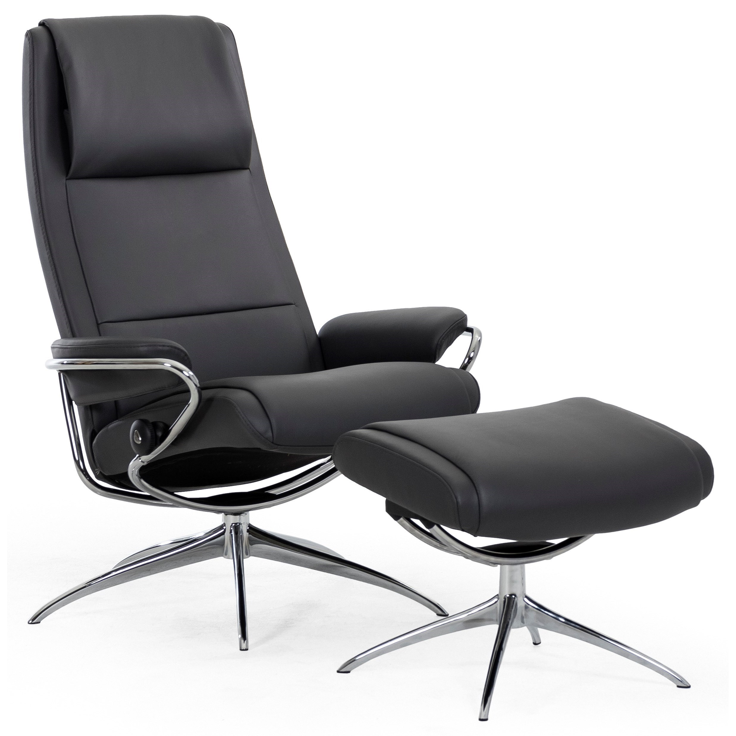 Paris High Back Recliner And Ottoman With Standard Star Base By Stressless