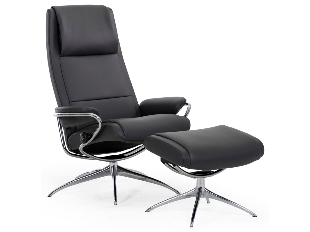 Stressless ParisHigh Back Recliner and Ottoman