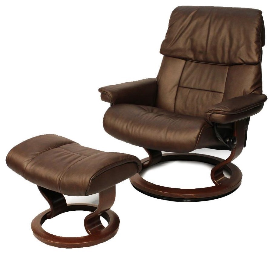 Stressless By Ekornes RUBY LARGE CHAIR/CHOCOLATE/OTTOMAN BROWN SIGNATURE  BASE