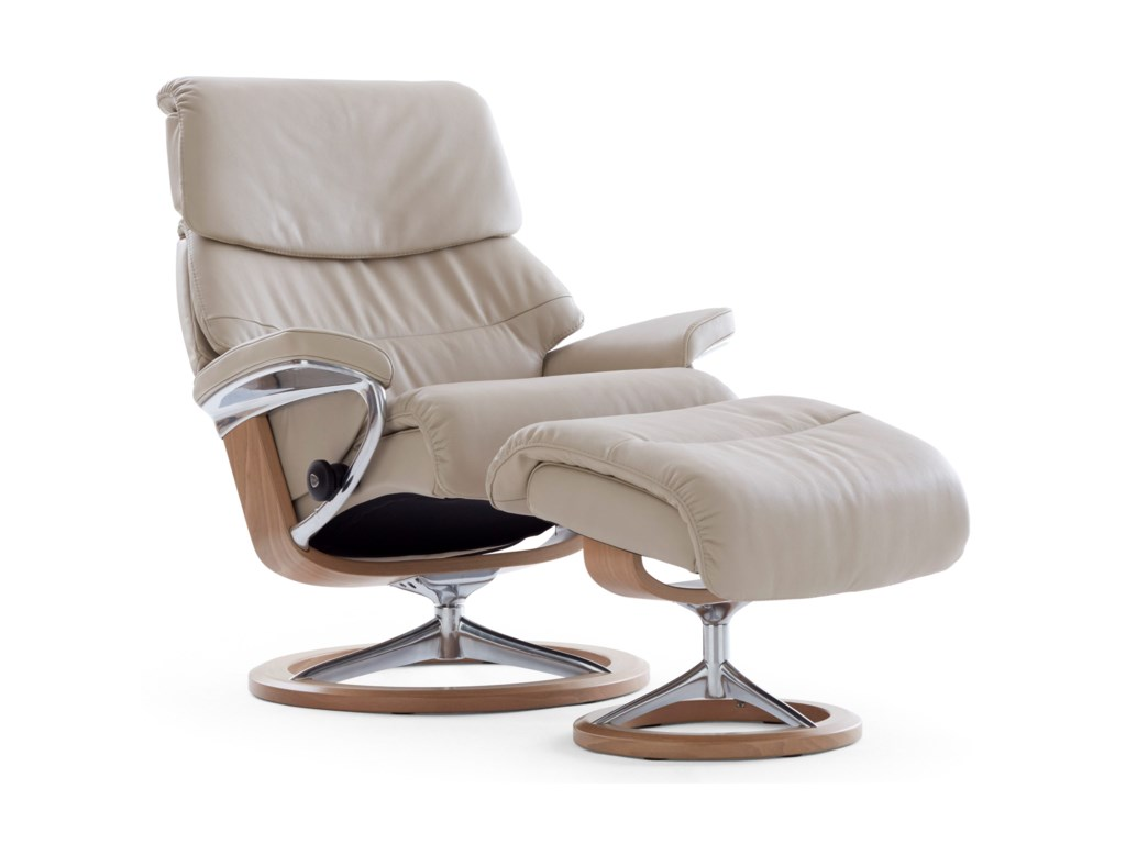 Stressless CapriSmall Reclining Chair and Ottoman