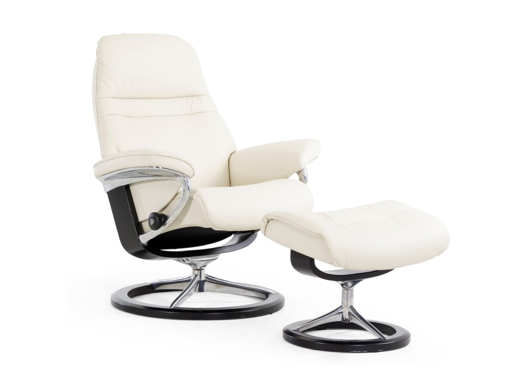 Stressless SunriseLarge Reclining Chair and Ottoman