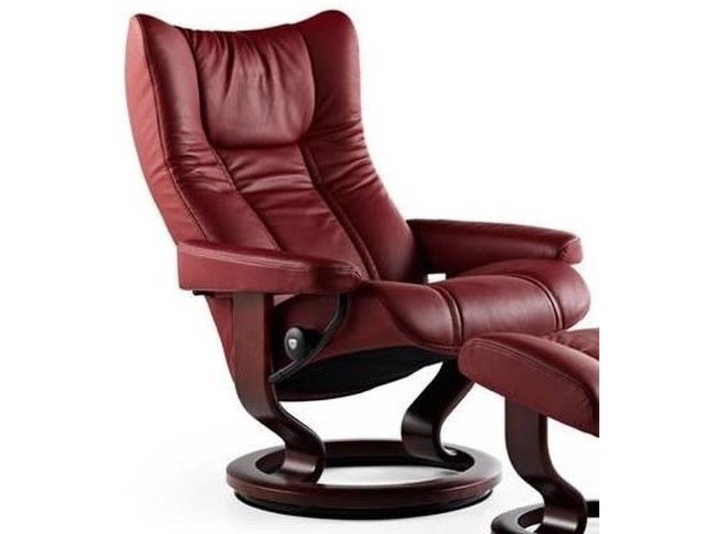 Stressless WingSmall Reclining Chair with Classic Base