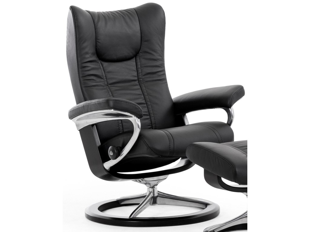 Stressless WingSmall Reclining Chair with Signature Base