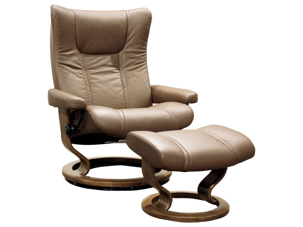 Stressless WingLarge Stressless Chair & Ottoman