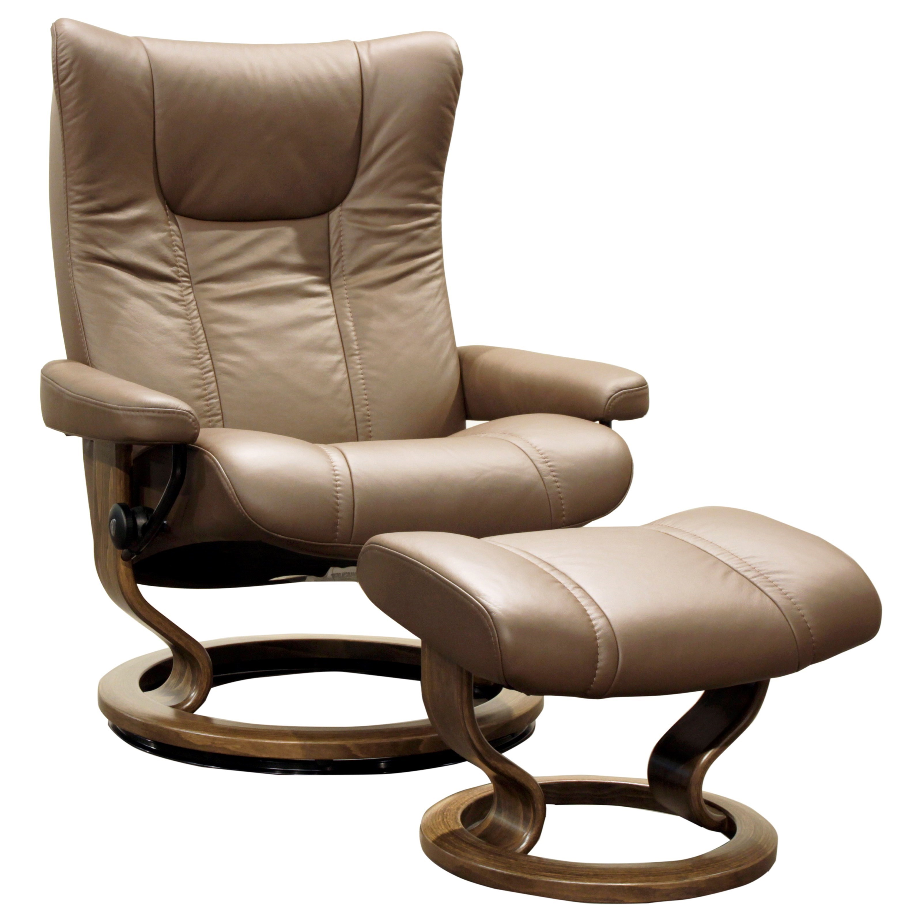 Stressless WingLarge Reclining Chair And Ottoman ...