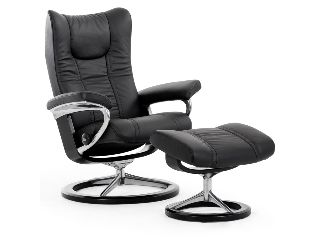 Stressless WingLarge Reclining Chair and Ottoman