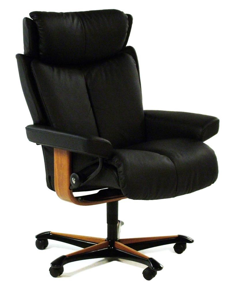 Stressless by Ekornes Stressless fice Magic Medium fice Chair Plaoma Black w Teak
