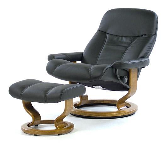 stressless by ekornes stressless recliners consul large recliner u0026 ottoman batick black u0026 teak