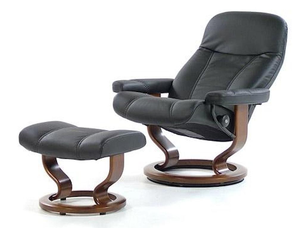 Stressless ConsulMedium Chair & Ottoman with Classic Base