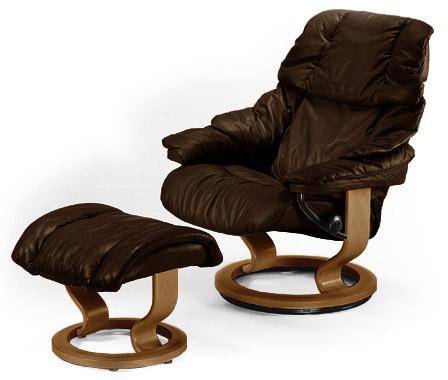 Stressless RenoMedium Chair U0026 Ottoman With Classic Base ...