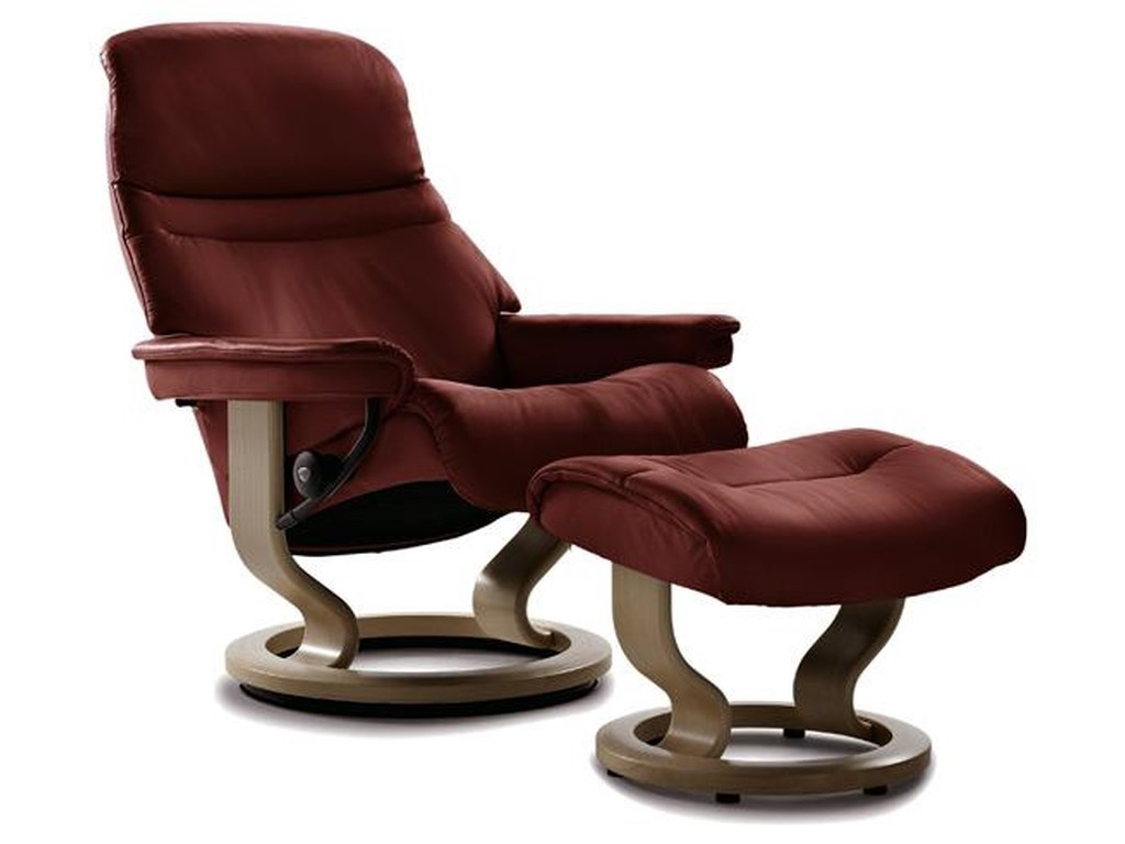 Stressless Sunrise Small Sunrise Reclinerottoman Batick Burgundy