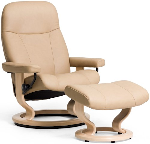 Stressless Garda Large Reclining Chair & Ottoman with Classic Base