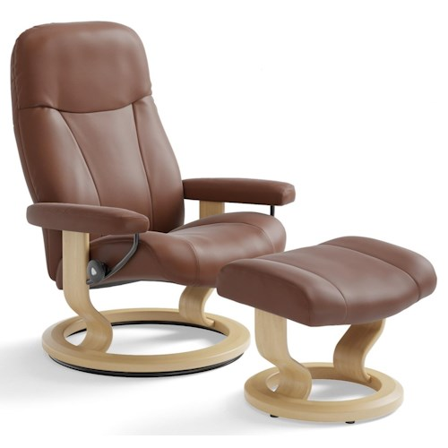 Stressless by Ekornes Garda Large Reclining Chair & Ottoman with Classic Base