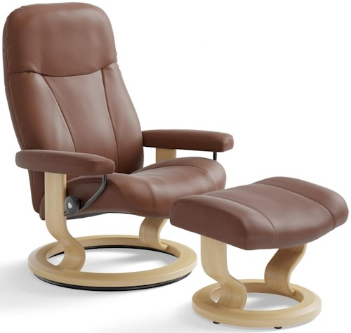 Stressless Garda Small Reclining Chair & Ottoman with Classic Base