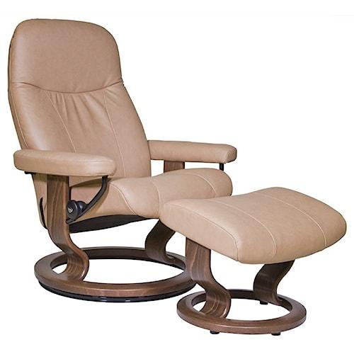 Stressless Garda Medium Reclining Chair & Ottoman with Classic Base