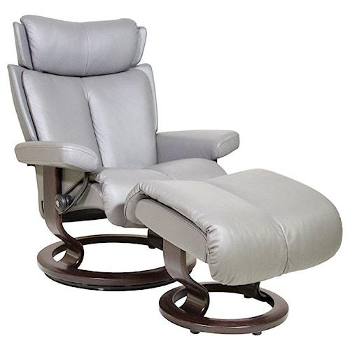 Stressless by Ekornes Magic Medium Reclining Chair and Ottoman