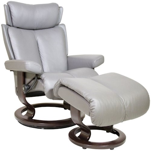 Stressless Magic Medium Reclining Chair & Ottoman with Classic Base
