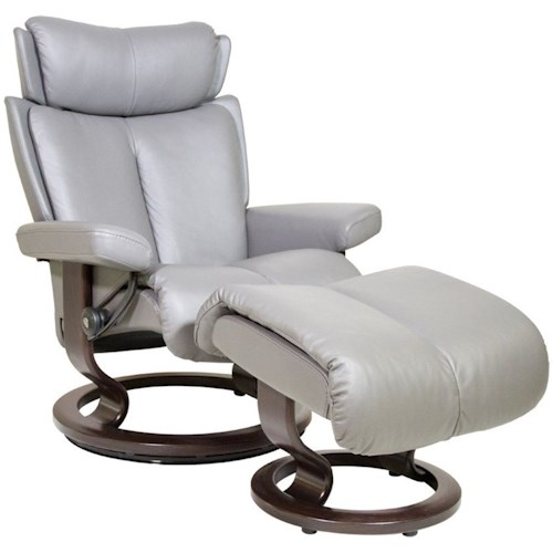 Stressless Magic Medium Reclining Chair & Ottoman with Classic Base