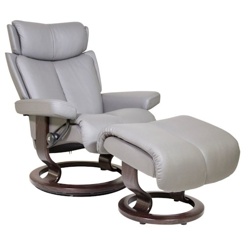 Stressless by Ekornes Magic Small Reclining Chair and Ottoman
