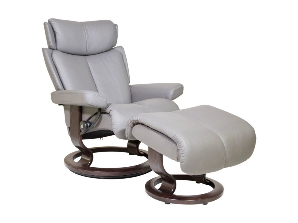 Stressless MagicSmall Chair & Ottoman with Classic Base
