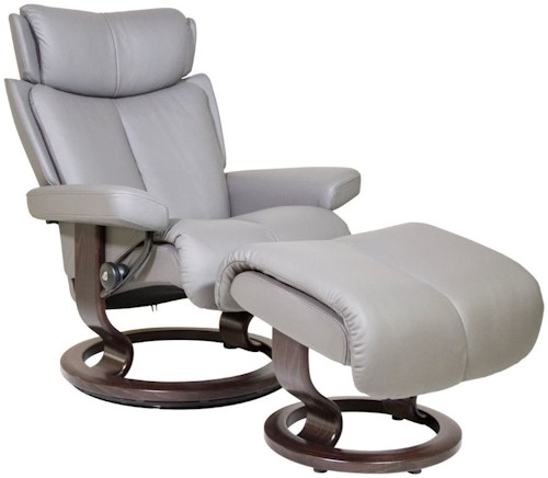 Stressless Magic Small Reclining Chair & Ottoman with Classic Base