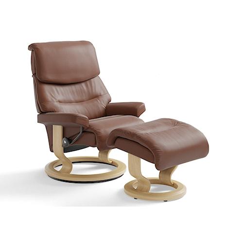 Stressless by Ekornes Stressless Capri Medium Classic Chair & Ottoman