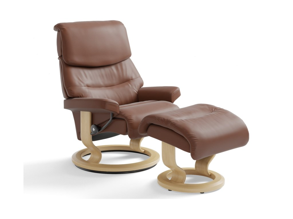 Stressless CapriSmall Reclining Chair & Ottoman