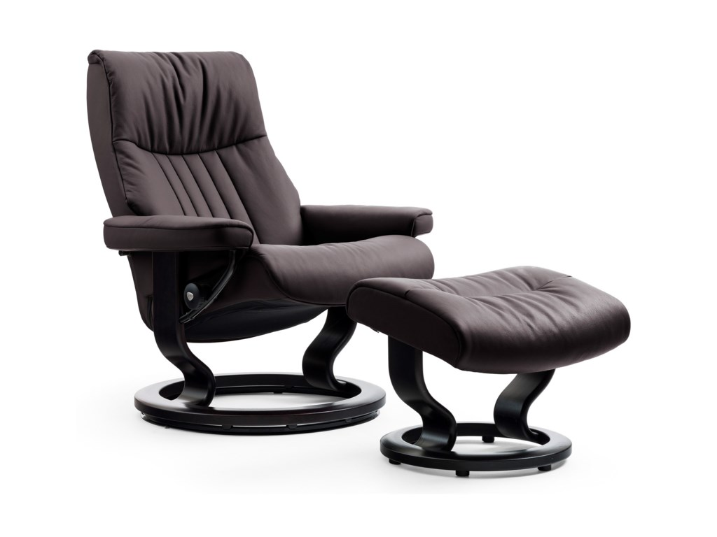 Stressless CrownMedium Chair & Ottoman with Classic Base