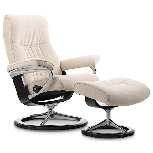 Stressless by Ekornes Stressless Crown Medium Signature Reclining Chair and Ottoman