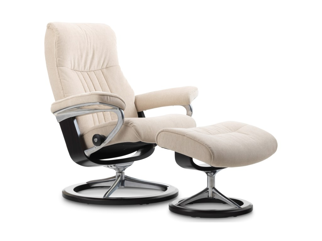 Stressless CrownMedium Chair & Ottoman with Signature Base