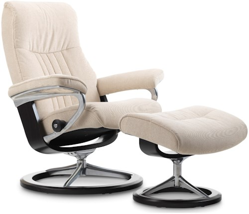 Stressless by Ekornes Stressless Crown Small Signature Reclining Chair and Ottoman