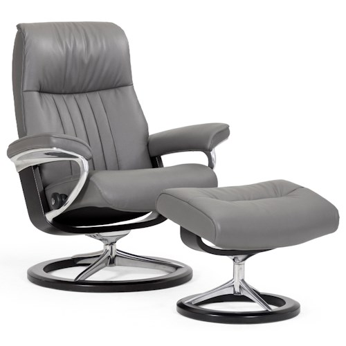 Stressless by Ekornes Stressless Crown Large Signature Reclining Chair and Ottoman