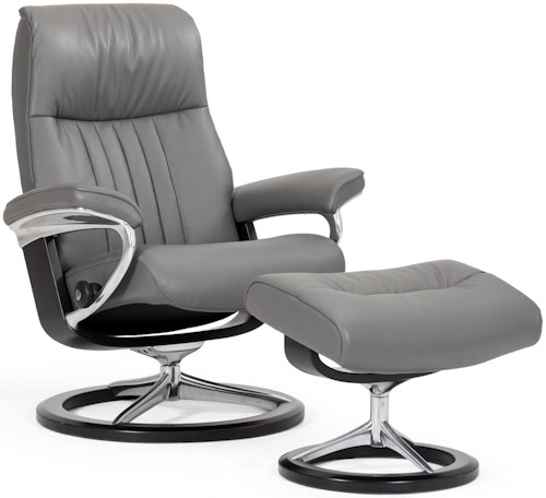 Stressless Crown Medium Reclining Chair & Ottoman with Signature Base