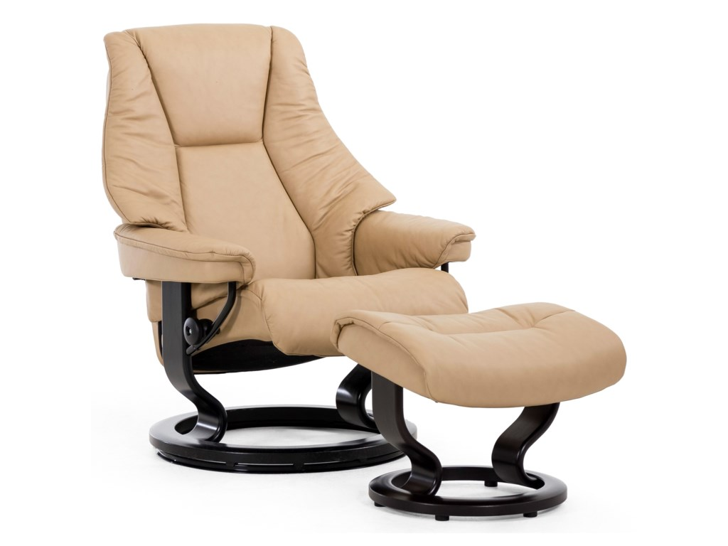 Stressless LiveMedium Chair & Ottoman with Classic Base