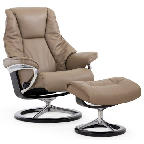 Stressless by Ekornes Stressless Live Large Signature Reclining Chair and Ottoman