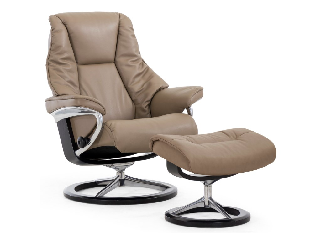 Stressless LiveMedium Chair & Ottoman with Signature Base