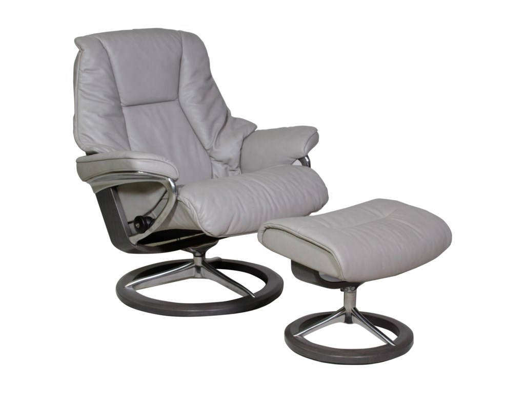 Stressless LiveLarge Chair & Ottoman with Signature Base