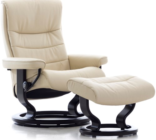 Stressless Nordic Small Reclining Chair & Ottoman with Classic Base