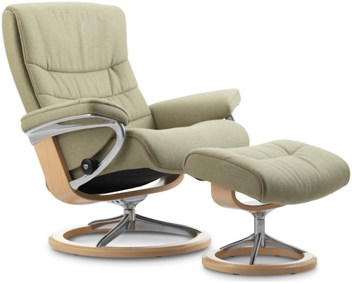 Stressless Nordic Medium Reclining Chair & Ottoman with Signature Base