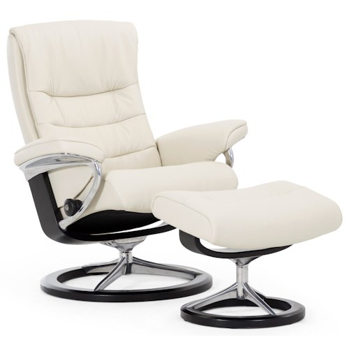 Stressless by Ekornes Stressless Nordic Small Signature Reclining Chair and Ottoman