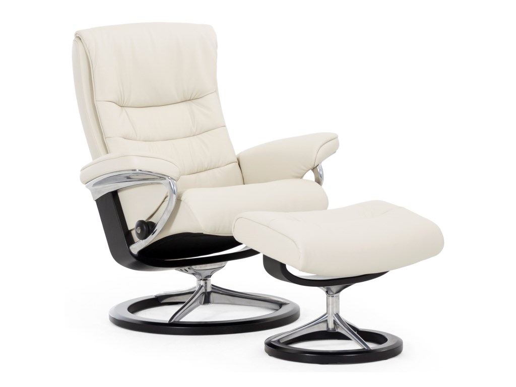 Stressless NordicLarge Chair & Ottoman with Signature Base