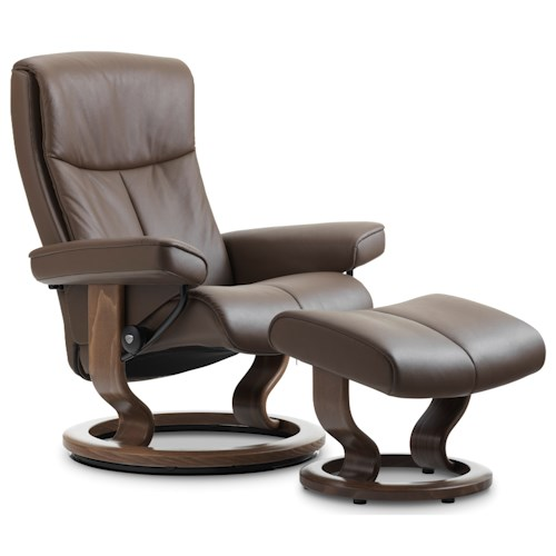 Stressless by Ekornes Stressless Peace Large Classic Reclining Chair and Ottoman