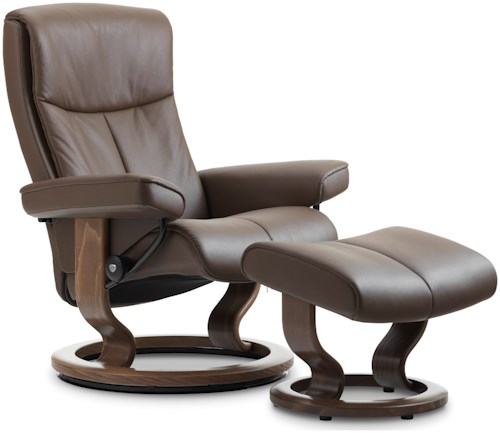 Stressless by Ekornes Stressless Peace Small Classic Reclining Chair and Ottoman