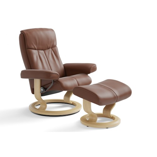 Stressless by Ekornes Stressless Peace Medium Classic Reclining Chair and Ottoman