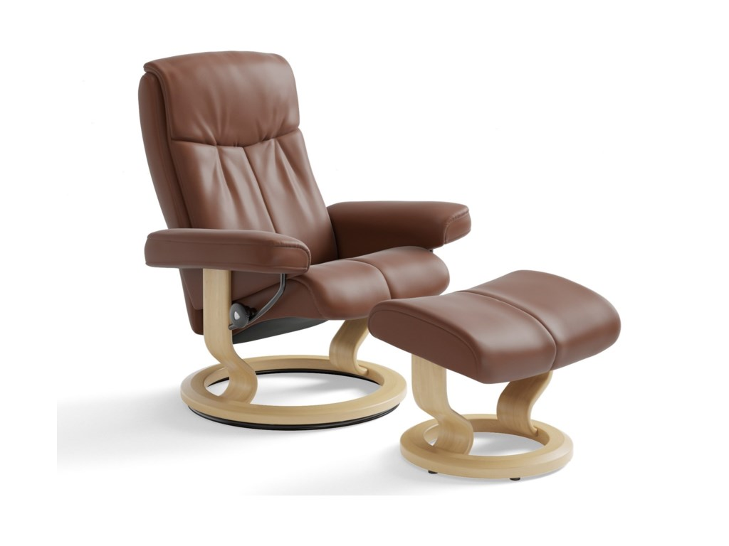 Stressless PeaceMedium Chair & Ottoman with Classic Base