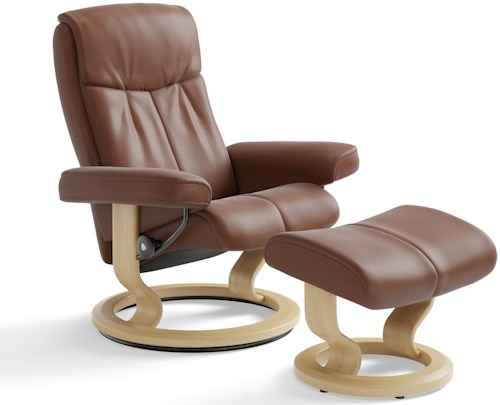 Stressless Peace Medium Reclining Chair & Ottoman with Classic Base